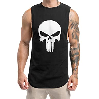 dd00a2148f0118 O2TEE Men s The Punisher Skull Workout Gym I-Back Muscle Dry Fit Tank Tops  Black