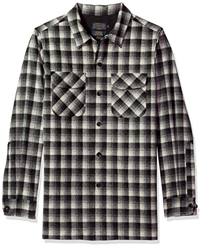 - Pendleton Men's Fitted Long Sleeve Board Shirt, Black/White Shadow Check, LG
