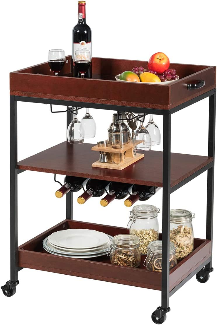 Giantex Kitchen Island Cart Rolling Industrial Style Trolley 3-Tier Serving Cart Utility Cart Wood Kitchen Stand