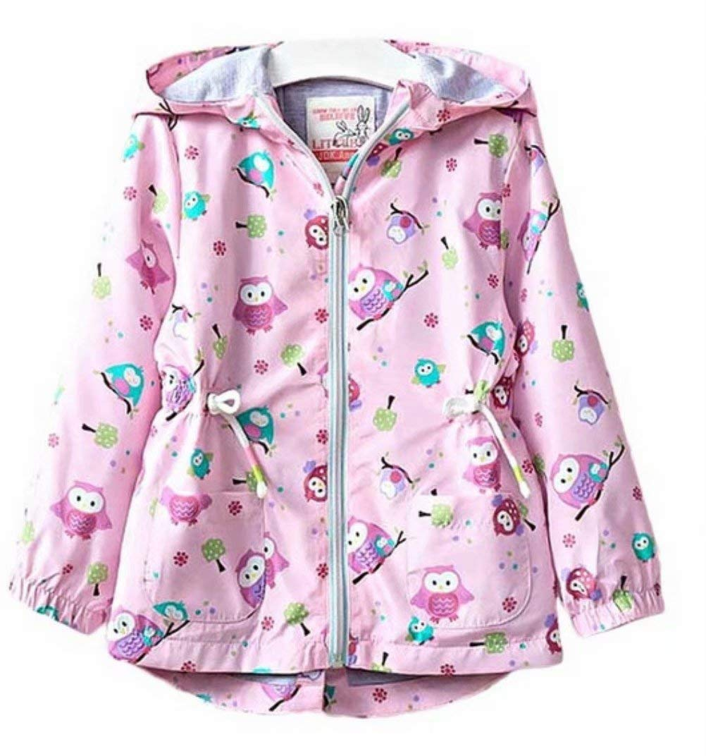 Toddler Kids Girls Cartoon Owl Print Zippered Autumn Windproof Hooded Jacket Size 4-5 Years/Tag 120 (Pink)