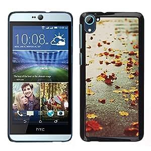 LECELL--Funda protectora / Cubierta / Piel For HTC Desire D826 -- Otoño estaciones de lluvia calle camino Leafs --