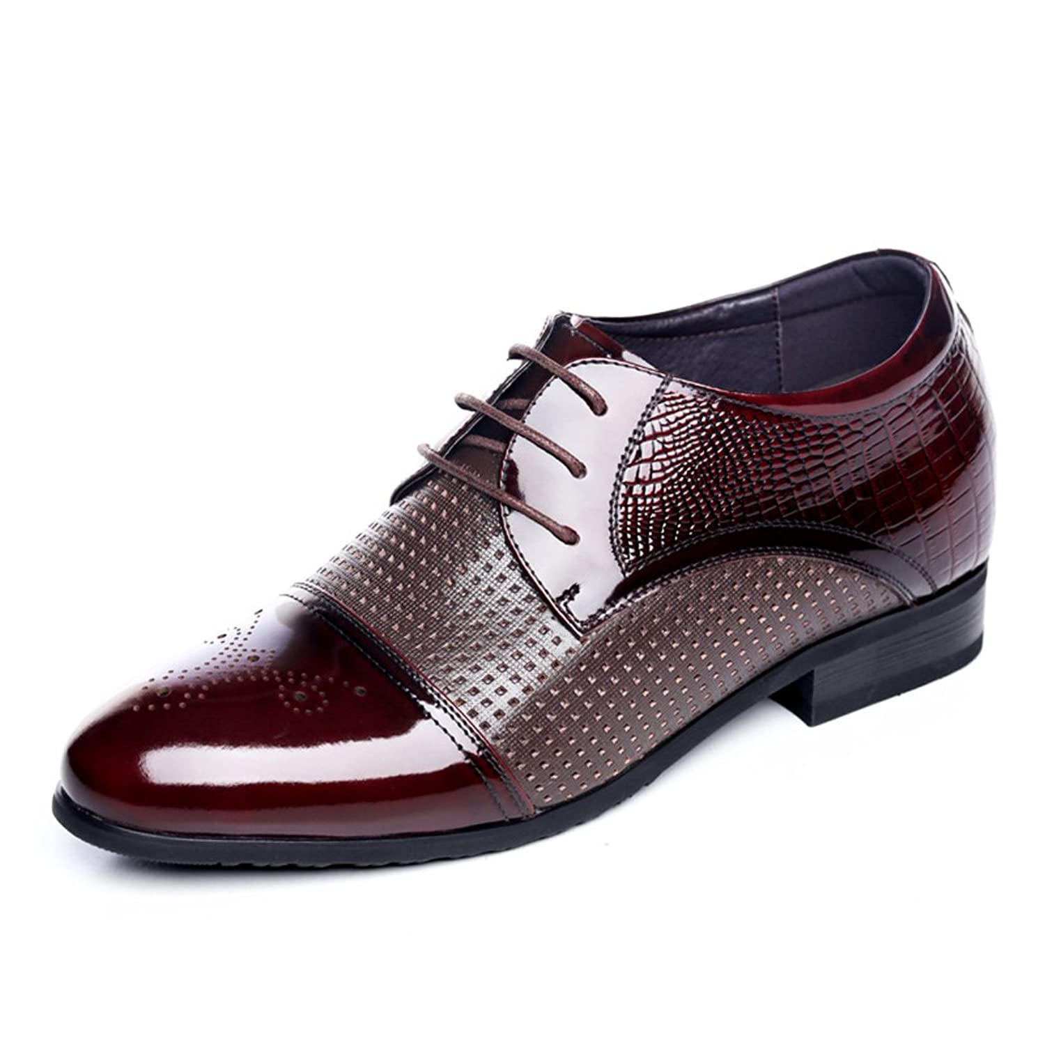 2.56 Inches Taller - Men's Height Increasing Elevator Oxfords-Brown Breathable Leather Dress Shoes