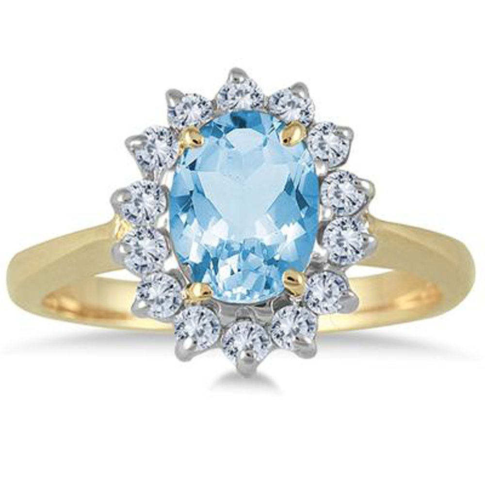 Silvostyles 1.50 Carat Oval Blue Topaz And Diamond Halo Ring In 14K Yellow Gold Plated
