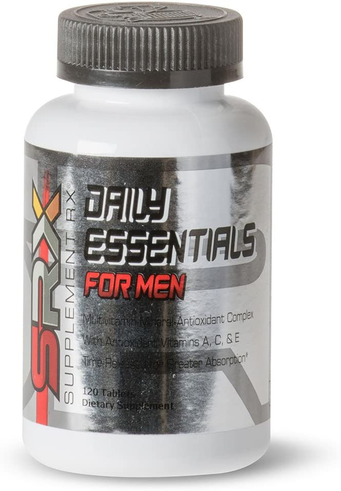 Supplement Rx SRX – Daily Essentials Multivitamin for Men, Daily Energy Support, time Released, no Sugar, allergen Free, Gluten Free, High B-Complex, Hypoallergenic, Antioxidants 120 Tablets