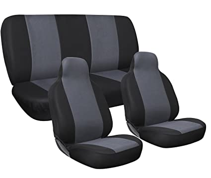 OxGord Car Seat Cover Full Set Flat Cloth Mesh Black