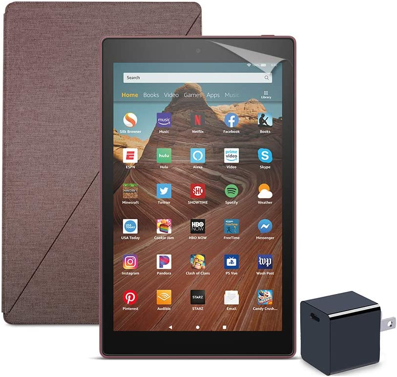 Fire HD 10 Tablet (64 GB, Plum, With Special Offers) + Amazon Standing Case (Plum) + Nupro Screen Protector (2-pack) + 15W USB-C Charger