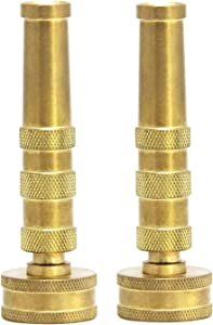 2 AquaPlumb Solid Brass Hose Nozzle, Heavy-Duty Brass Adjustable Twist Hose Nozzle - MADE IN TAIWAN