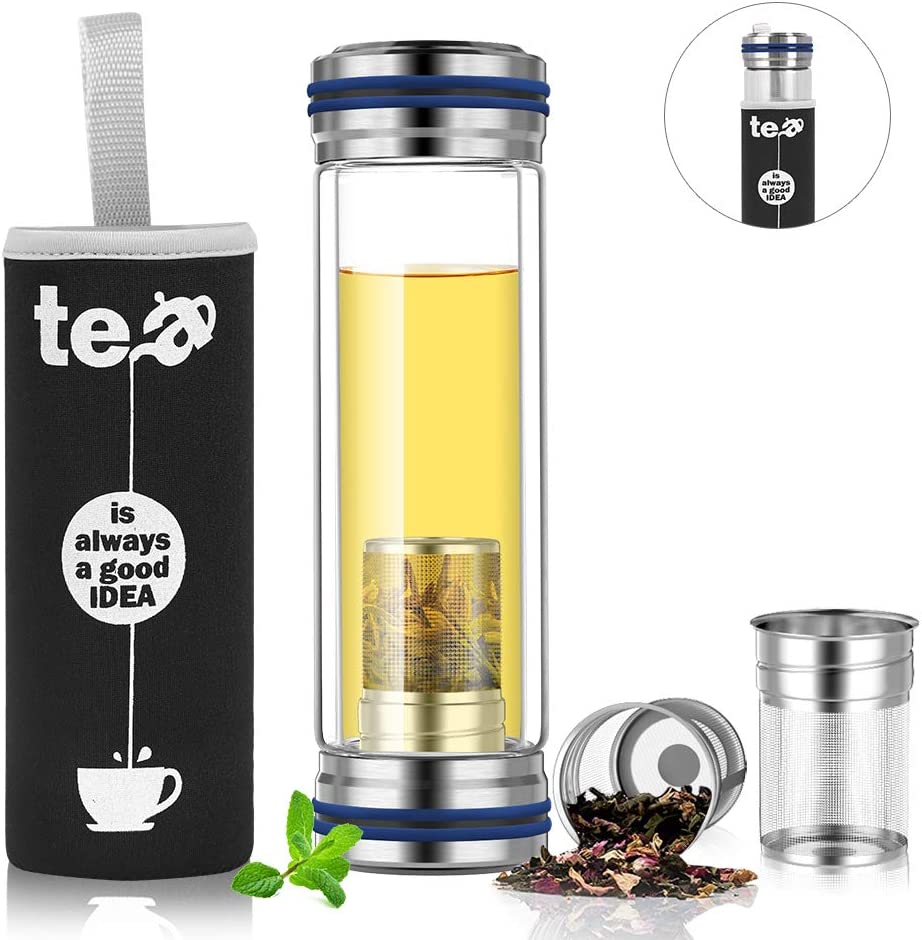 BINE 14oz Glass Tea Infuser Bottle Tumbler Strainer for Loose Leaf, Herbal, Green or Ice Tea Cold Brew Coffee Mug or Fruit Infusion Hot or Cold Water Travel Bottle Free Travel Sleeve