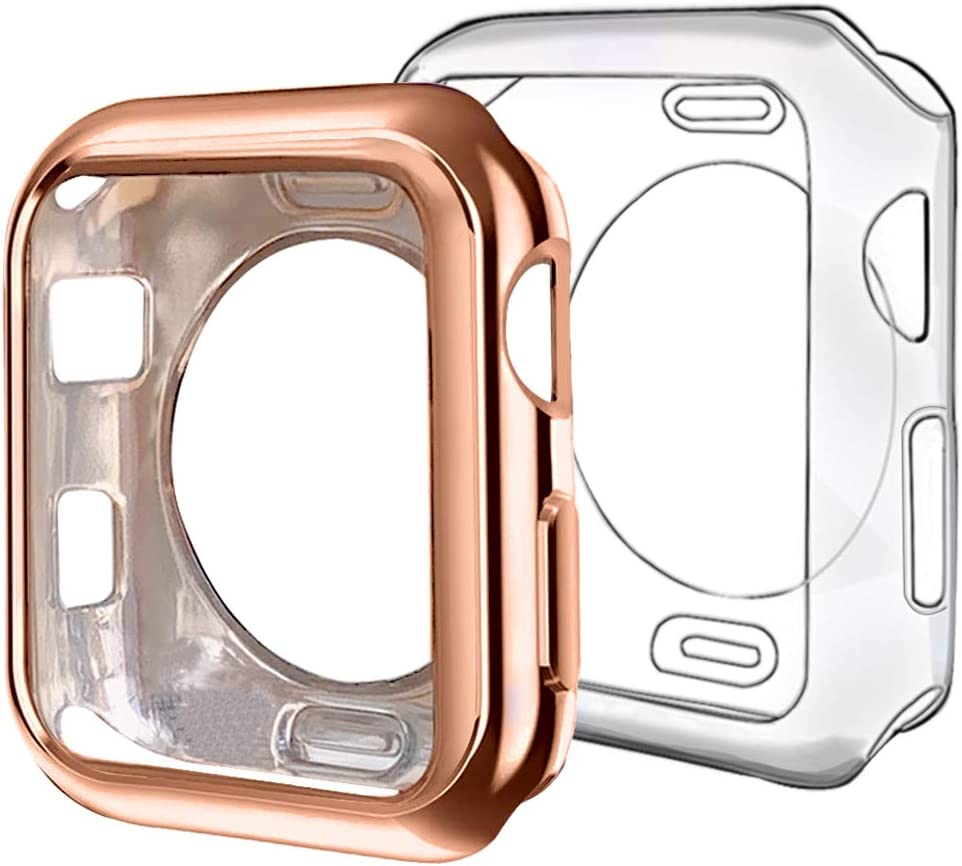 ISENXI Compatible with Apple Watch Case 38mm,2 Pack Soft TPU Ultra-Slim Lightweight Bumper Scratch Resistant Protective Cover Case Compatible with Apple Watch Series 3 2 1 (2Pack(Clear+Rose Gold))