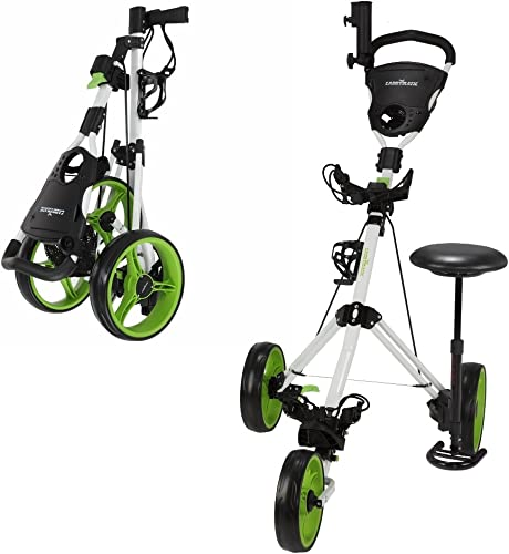 Caddymatic Golf X-TREME 3 Wheel Push Pull Golf Cart with Seat White Green