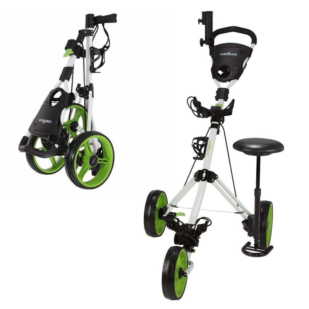 Caddymaticゴルフx-treme 3ホイールプッシュ/プルゴルフカートwith Seatホワイト/グリーン   B074QPQRZQ