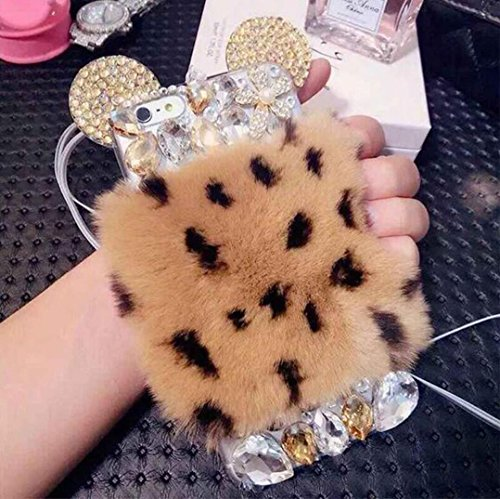Iphone 6 plus/6s plus Ear Case,Jesiya Luxury 3D Handmade Shiny Crystal Cute 3D Mouse/Bear Ear Warm Rabbit Fur Hair Plush Back Bling Diamond Case Cover…