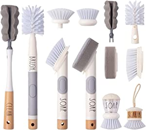 Rae Dunn Collection Kitchen Dish Brush Set, Scrub Brush for Dishes, Scrub Brush with Soap Dispenser, Palm Brush, Bottle Brush- by Cook with Color (White)