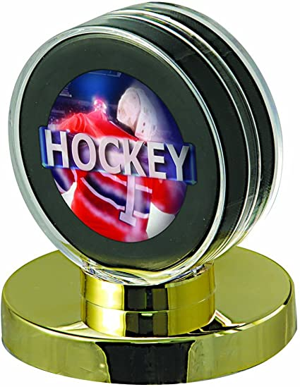 Ultra Pro Hockey Puck Display with Black Wood Base