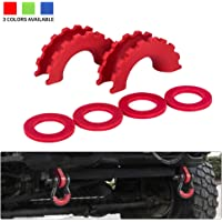 """BUNKER INDUST D Ring/Shackle Isolator Kit,1 Pair Red D-Ring Isolator and 4 Pcs Washers Dring Cover Fit for 3/4"""" Shackle Hooks 4x4 Off Road Jeep Accessories Protect Bumper and Reduce Rattling"""