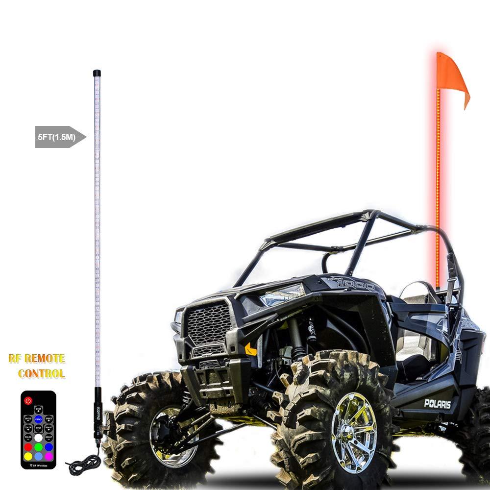 Road Vehicle ATV UTV RZR Jeep Trucks Dunes 1.8M Beatto 6FT APP Bluetooth Controll RGB LED Whips Light LED Safety Flag Poles Light LED Antenna Light For Off