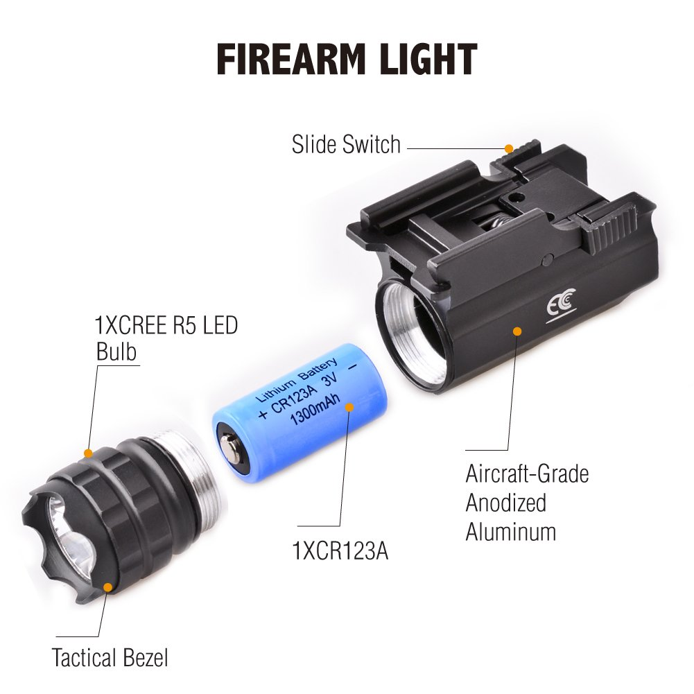 MCCC 230 Lumens LED Rail Mount Tactical Gun Flashlight Pistol Light with Strobe&Weaver Quick Release for Hunting, Black by MCCC (Image #3)