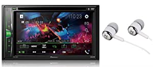 "Pioneer in-Dash Double DIN 6.2"" WVGA Display Built-in Bluetooth Multimedia DVD CD MP3 USB AM/FM Touchscreen Dual Phone Connection Car Stereo Receiver/Free ALPHASONIK Earbuds"