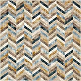 Unique Loom Chimera Collection Modern Abstract Chevron Dark Blue Square Rug (6′ x 6′) For Sale