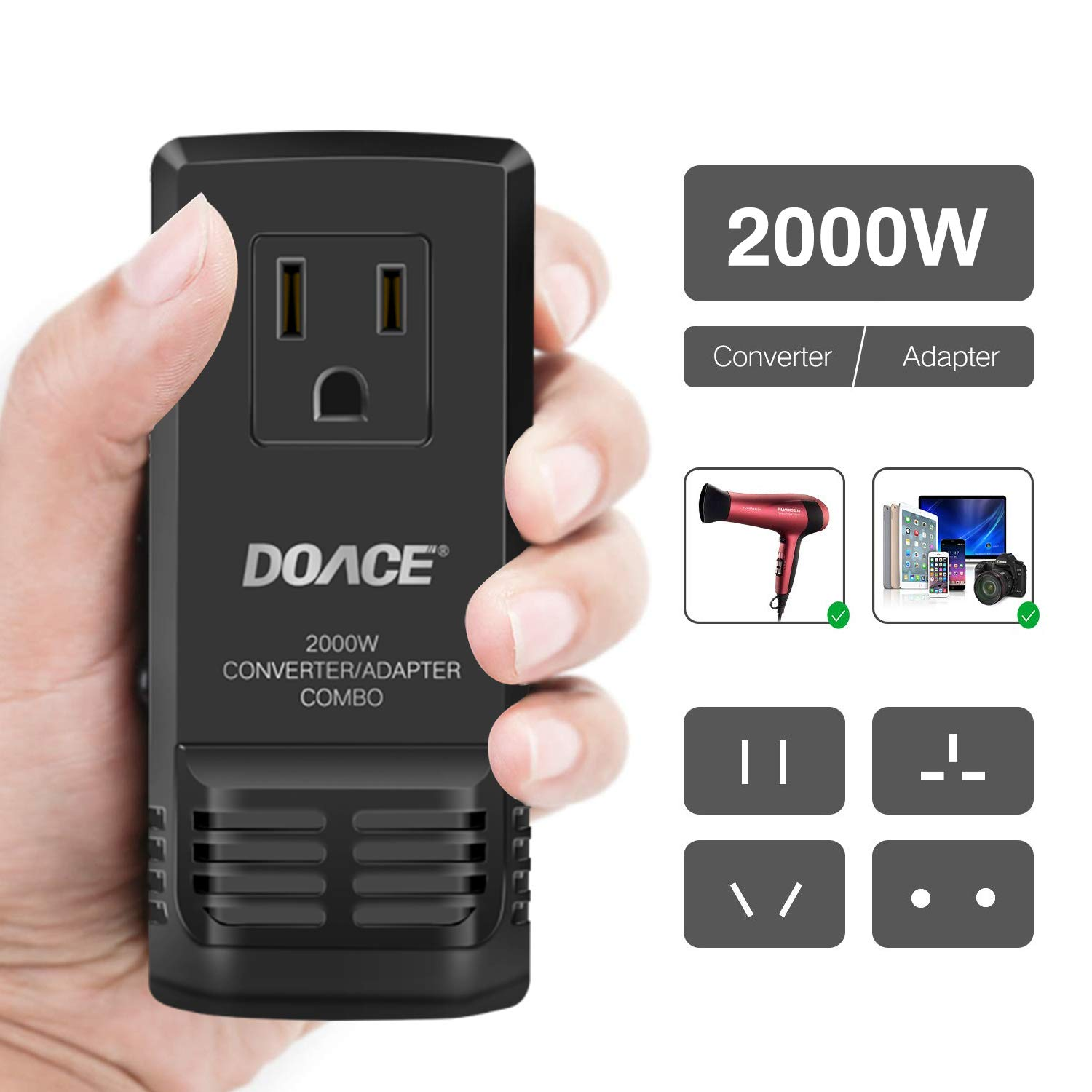 DOACE C8 2000W Travel Voltage Converter 220V to 110V for Hair Dryer Steam Iron 8A Power Adapter with