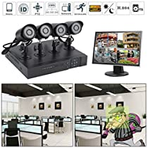 Security Indoor Outdoor Wide Viewing Angle Night Vision Cameras System Home DVR 1TB,4-Channel 1080P HD Video Security System CCTV DVR Hard Drive Surveillance Night Vision Security Camera System