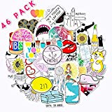 46 Pcs Stickers for Water Bottles Cute Stickers for Adults, Girls | Perfect for Waterbottle, Hard Hat, Laptop, Phone, Luggage, Car, Skateboard, Motorcycle, Hydro Flask Travel Vinyl Stickers Waterproof