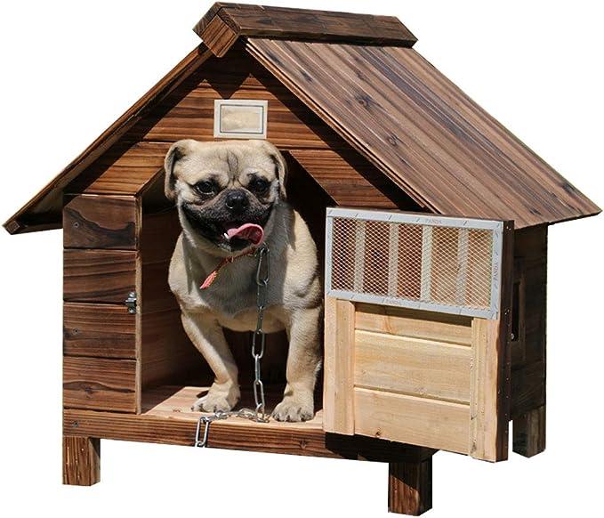 Lonshi Casa de Perro Perrera Jaula para Perros Jaula a Prueba de Agua a Prueba de Agua al Aire Libre de Madera Maciza de carbón de leña Perro casa de Perro de Perrera Mascota Nido de Perrera [Clase de eficiencia energética A++]