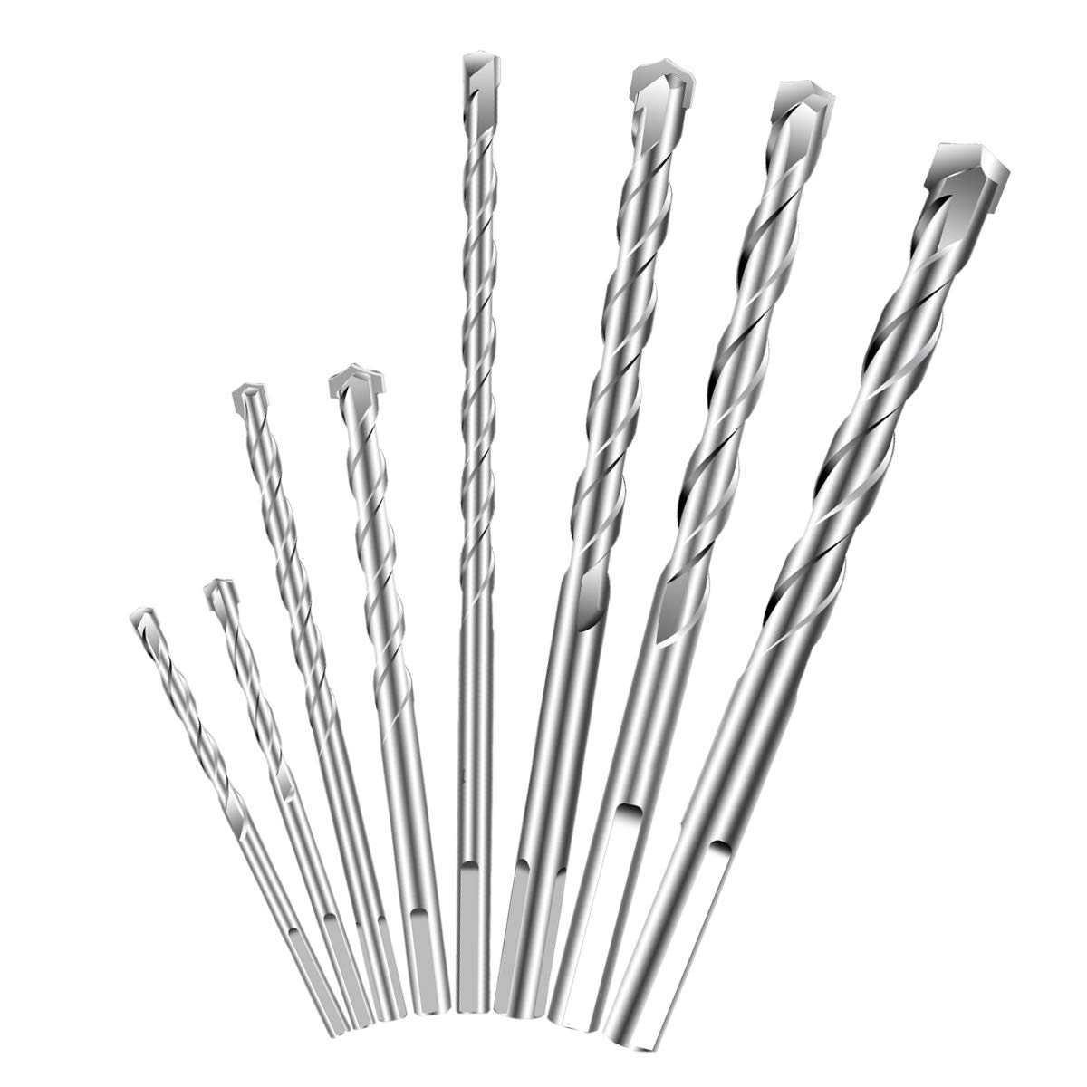 Masonry Drill Bits Set (8-piece) for Concrete, Brick, Cement, Plastic and Wood, Carbide Tip and Round Shank by Vicnunu