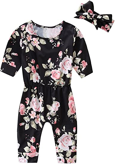 0-2Years,SO-buts Toddler Baby Girls Summer Floral Romper Bodysuit Headband Clothes Jumpsuit Outfit