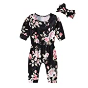 30c87d741c0a HBER 0-24M Baby Toddler Girl Romper Clothing Long Sleeve Floral Jumpsuit  Outfits Set with