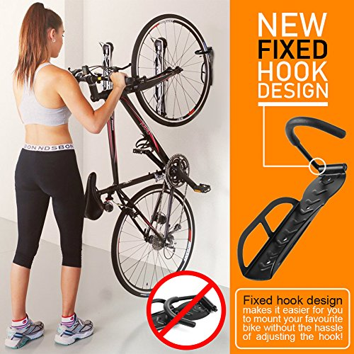 Ceiling Bike Rack >> Vertical Hanging Wall Bike Rack Storage Hanger Hold Up To 66 Lbs