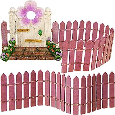 Fairy Garden Miniature Door & Fence Set of 3 pcs, Premium Quality Hand Painted Figurines & Accessories, Kit For Outdoor or House Decor, By Mood Lab