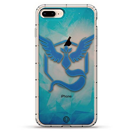 FANDOM: POKEMON GO INSPIRED MYSTIC BLUE | Luxendary Air Series Clear Silicone Case with 3D Printed Design and Air-Pocket Cushion Bumper for iPhone 8/7 ...