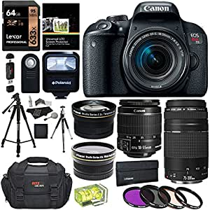 "Canon EOS REBEL T7i EF-S 18-55 IS STM Kit, EF 75-300mm III, Lexar 64GB, Polaroid Wide Angle, Telephone Lens, Polaroid 72"" Tripod and Accessory Bundle"