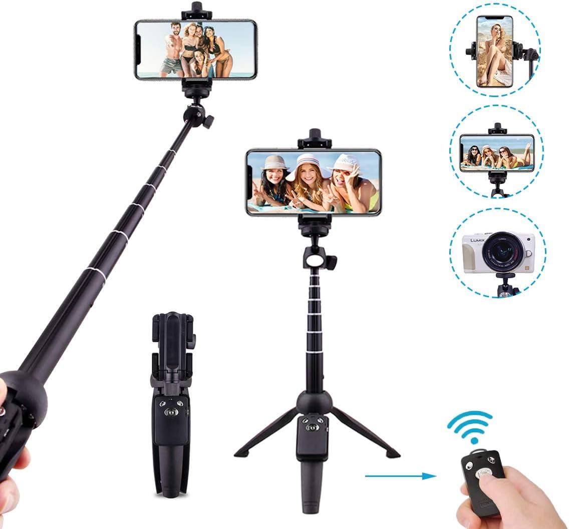 Hands DIY Bluetooth Selfie Stick Tripod Stand Extendable Portable Detachable Wireless Remote 360/° Rotation