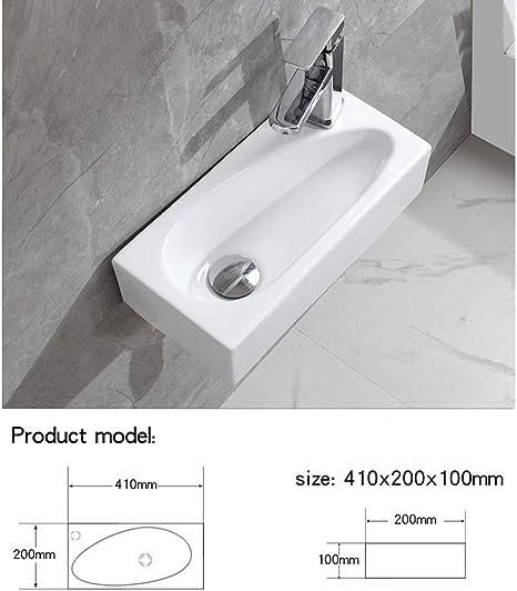 Main droite 410 x 200 x 100 Lave Main Suspendu C/éramique Lavabo Mural pour wc /Évier Lave Mains Rectangle Design // eConnect-EU