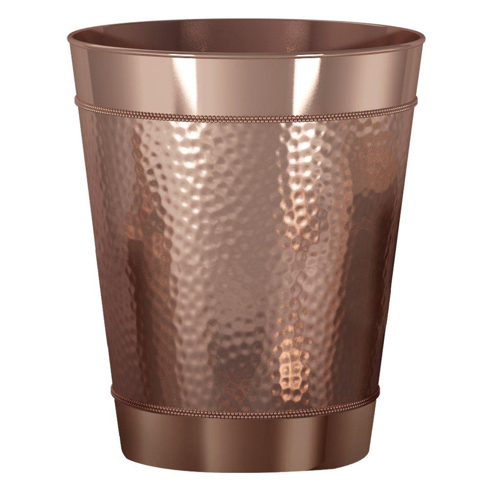 nu steel HSC8H Hudson Collection Wastebasket Small Round Vintage Trash Can for Bathroom, Bedroom, Dorm, College, Office, 10'' x 10'' x 10.8'', Hammered Copper Finish