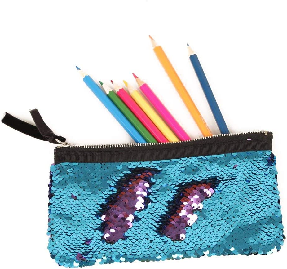 ROZKITCH Pencil Bag Glitter Mermaid Sequin Student Pencil Case Organizer Stationery Pouch Double Color Makeup Bag Creative Cosmetic Storage Bag with Zipper