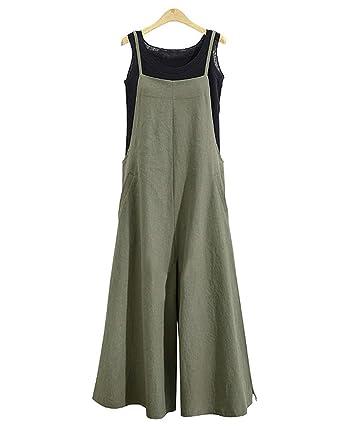 bcf083937d1 Amazon.com  Celmia Womens Casual Loose Bib Baggy Overalls Jumpsuit Pants  Plus Size Cotton Romper  Clothing