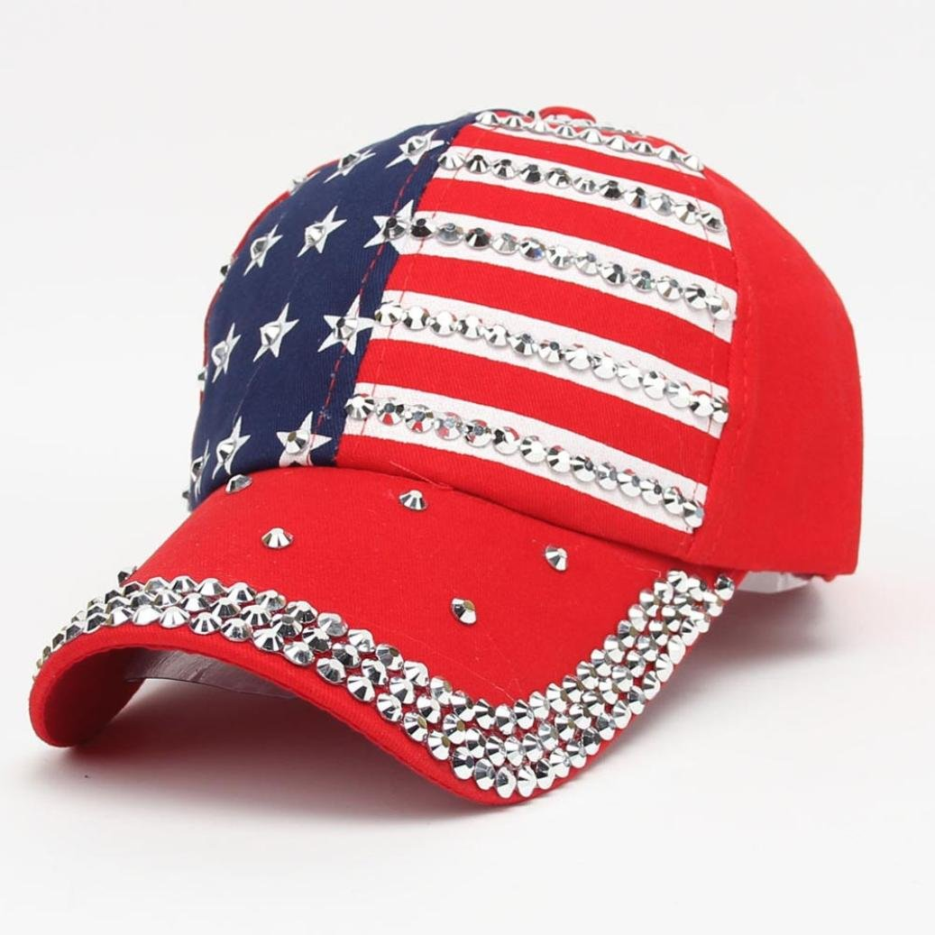 Amazon.com  Women Sparkle Rhinestone USA Patriotic American Flag Baseball  Cap Hat 4th July Summer Sun Cap (Navy)  Clothing a8c6ead460