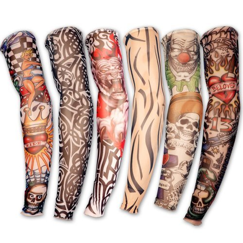 Hosaire 6pcs Novelty designs Skirt Fake Tattoo Sleeves arms/legs stockings stretch Temporary Dress Costume-Fancy Dress Stocking