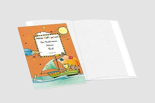 /»Spannende Seefahrt/« Lustige JANOSCH-Schulhefte A4 personalisierbar verschiedene Farben /& Lineaturen 43 Beige, Lineatur 07