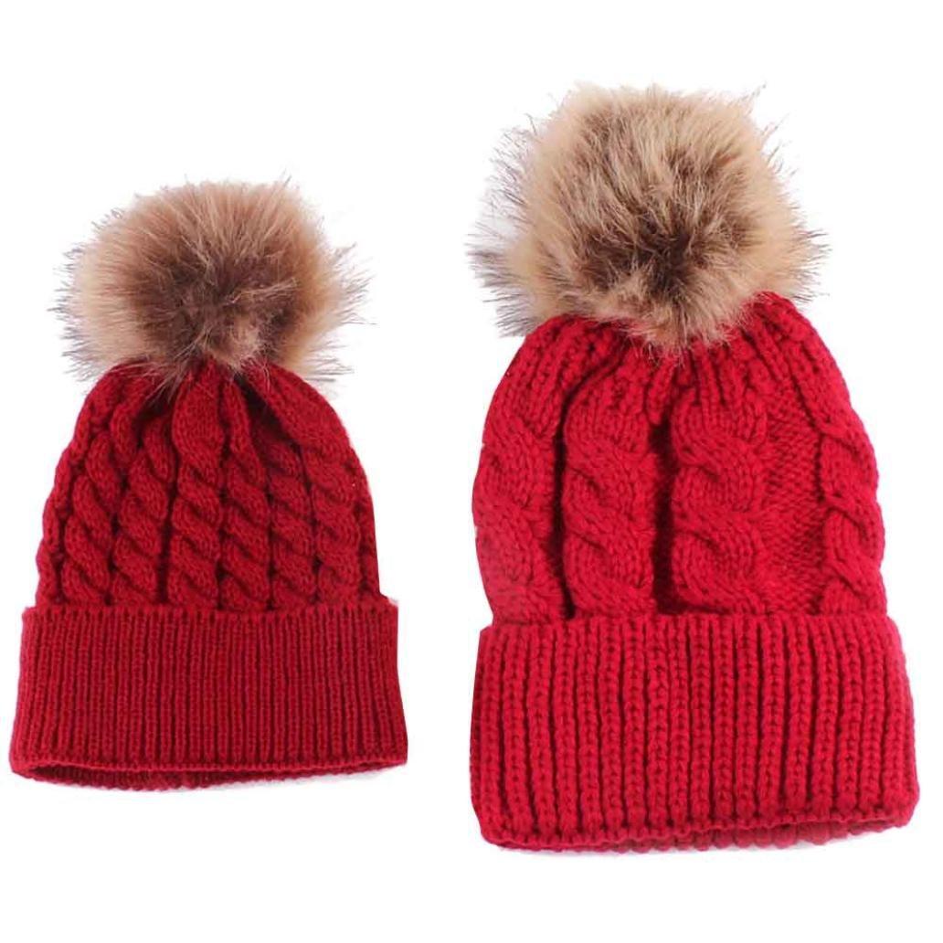 Susenstone Mom And Baby Knitting Keep Warm Hat Susenstone_1336