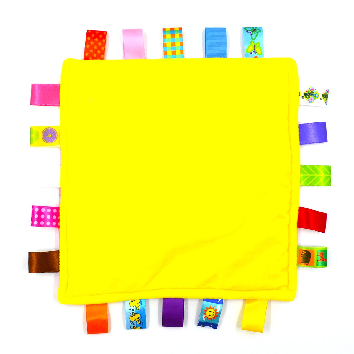 Small Flowers Breathable Infant Taggy Blanket Soft Touch Plush Taggy Toys Comfortable Security Taggie Present for Bedtime Newborn Baby