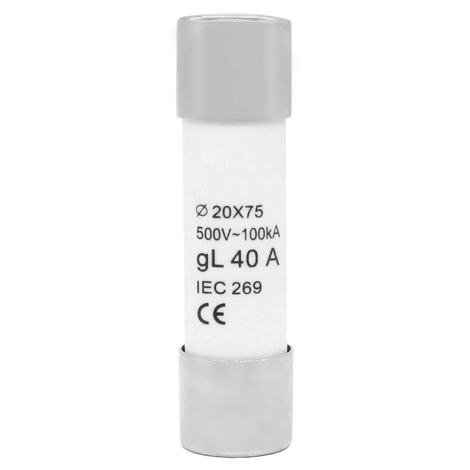 Silver Tone Cap Ceramic Cylindrical Tube Fuses 40A 1pcs 20x75mm AC600V Slow-Blow Acting