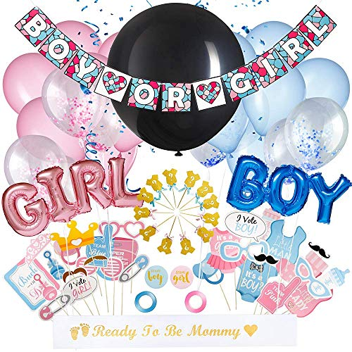 Babynanza All-In-One Baby Gender Reveal Party Supplies Kit - Adorable Baby Shower Balloon Decorations Set - Boy Or Girl Banner, Blue & Pink Foil Balloons, Heart Shaped Confetti, Ribbons & Photo Props