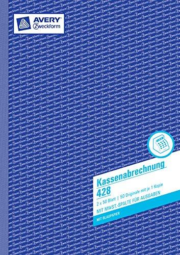 Avery Zweckform 428 Kassenabrechnung (A4, mit MwSt.-Spalte, 2x50 Blatt)