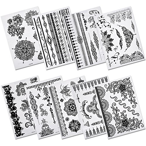 (Aboat Pack of 9 Sheets Henna Temporary Tattoo Black Body Art Sticker)