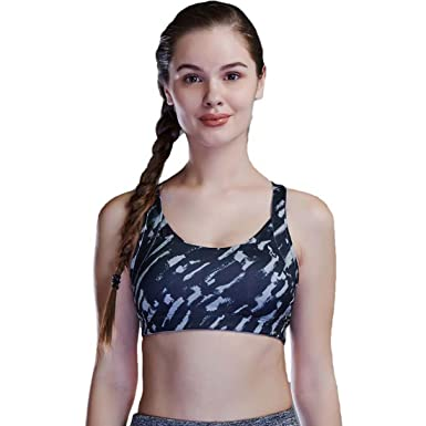 15b5e3b13c RRAVE Women s Medium High Support Cross Back Sports Bra with Molded Cups S  Grey