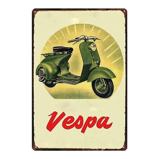 Snowae Cartel de Metal con diseño de Moto de Nieve Vespa ...